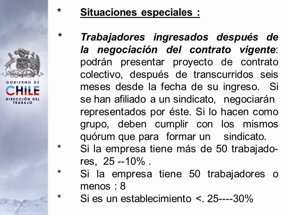 *Situaciones especiales : * Trabajadores ingresados después de la negociación del contrato vigente: podrán presentar proyecto de contrato colectivo, después de transcurridos seis meses desde la fecha de su ingreso.