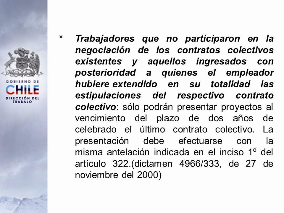 * Trabajadores que no participaron en la negociación de los contratos colectivos existentes y aquellos ingresados con posterioridad a quienes el emple