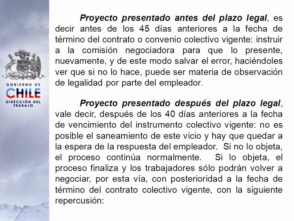 Proyecto presentado antes del plazo legal, es decir antes de los 45 días anteriores a la fecha de término del contrato o convenio colectivo vigente: i