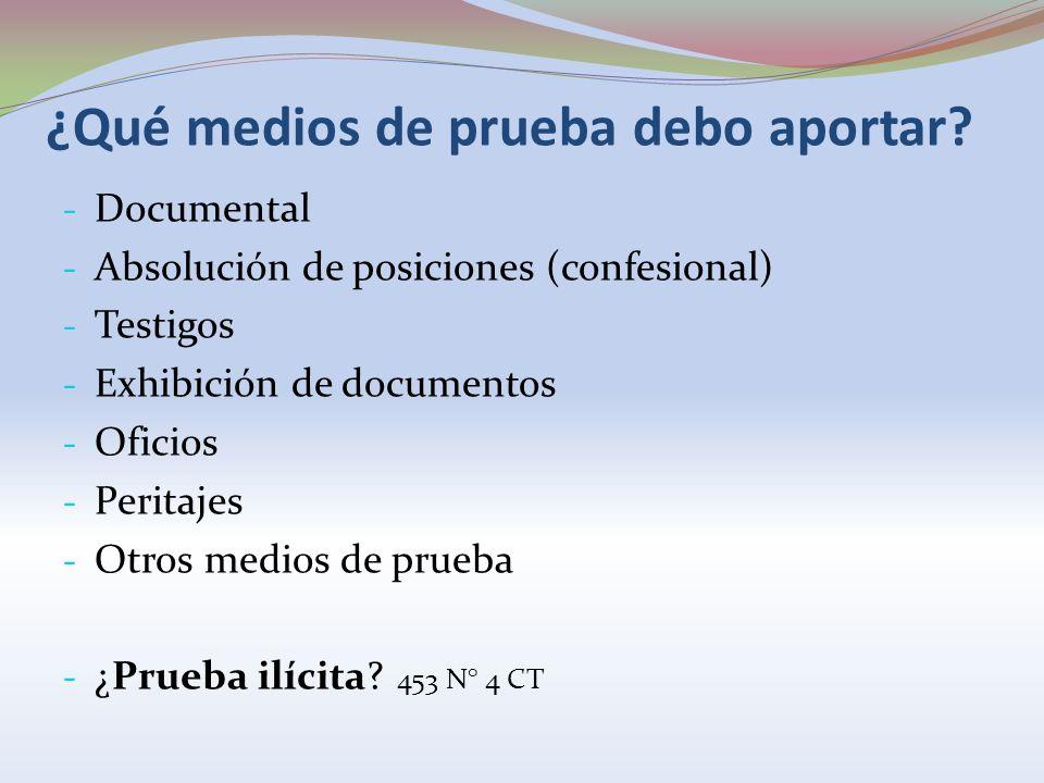 ¿Qué medios de prueba debo aportar? - Documental - Absolución de posiciones (confesional) - Testigos - Exhibición de documentos - Oficios - Peritajes