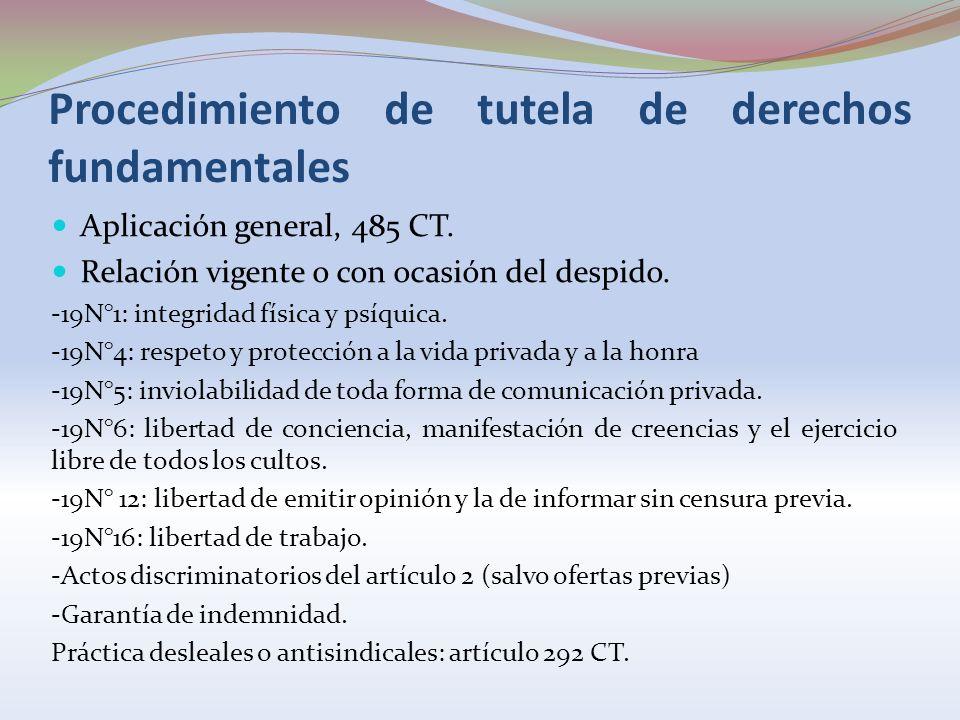 Procedimiento de tutela de derechos fundamentales Aplicación general, 485 CT. Relación vigente o con ocasión del despido. -19N°1: integridad física y