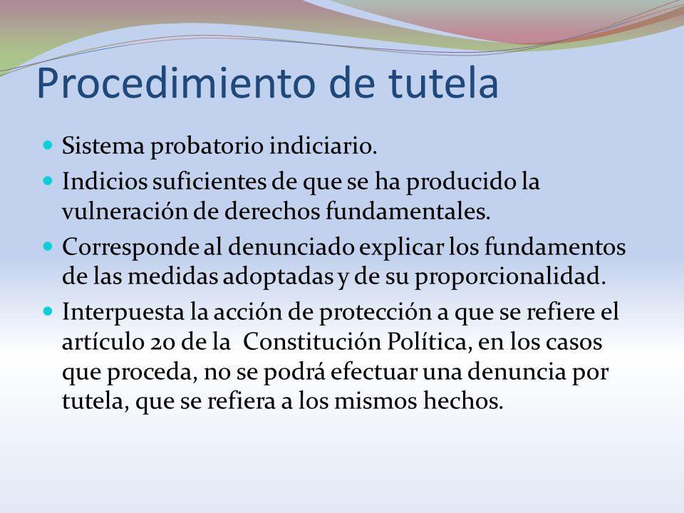 Procedimiento de tutela Sistema probatorio indiciario. Indicios suficientes de que se ha producido la vulneración de derechos fundamentales. Correspon