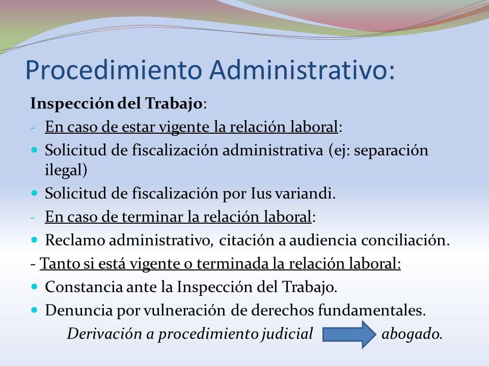 Procedimiento Administrativo: Inspección del Trabajo: - En caso de estar vigente la relación laboral: Solicitud de fiscalización administrativa (ej: s