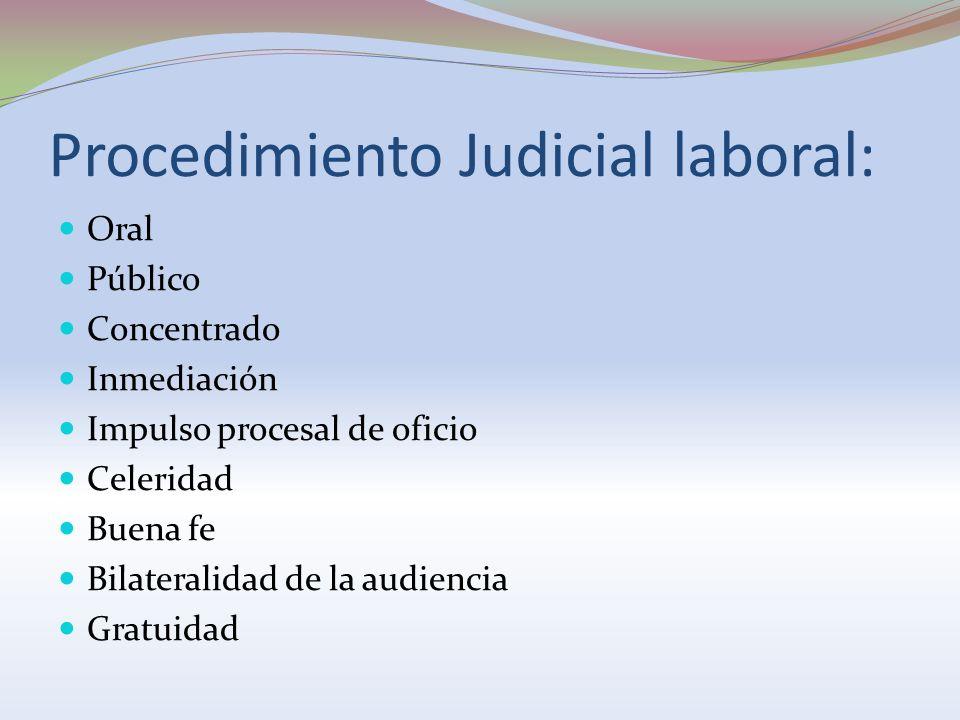 Procedimiento Judicial laboral: Oral Público Concentrado Inmediación Impulso procesal de oficio Celeridad Buena fe Bilateralidad de la audiencia Gratu