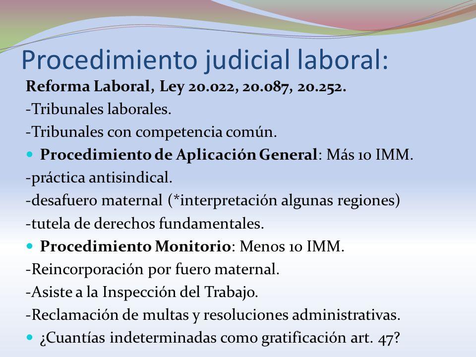 Procedimiento judicial laboral: Reforma Laboral, Ley 20.022, 20.087, 20.252. -Tribunales laborales. -Tribunales con competencia común. Procedimiento d