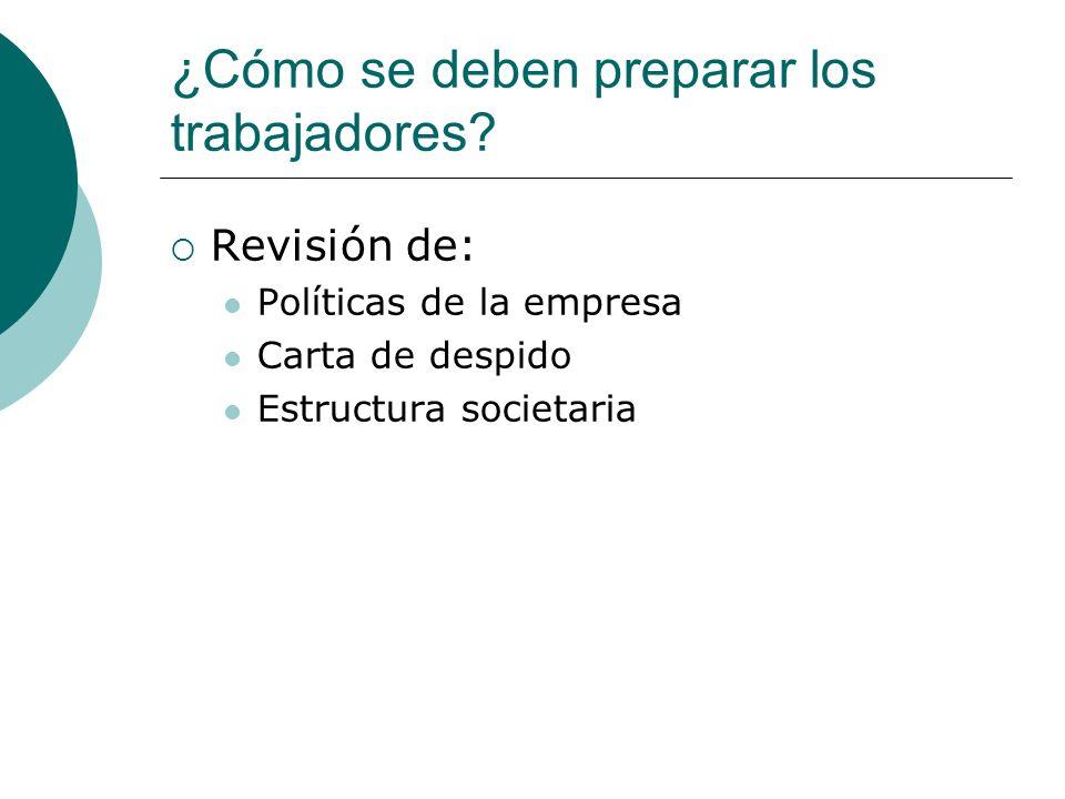 ¿Cómo se deben preparar los trabajadores? Revisión de: Políticas de la empresa Carta de despido Estructura societaria