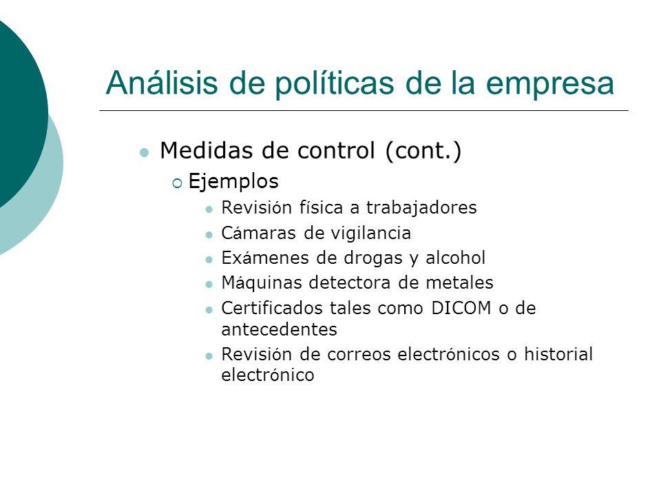 Análisis de políticas de la empresa Medidas de control (cont.) Ejemplos Revisi ó n f í sica a trabajadores C á maras de vigilancia Ex á menes de droga