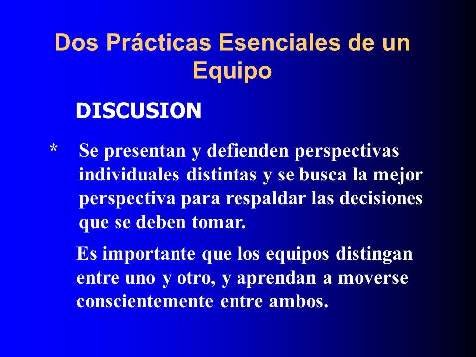 Dos Prácticas Esenciales de un Equipo DISCUSION Es importante que los equipos distingan entre uno y otro, y aprendan a moverse conscientemente entre a