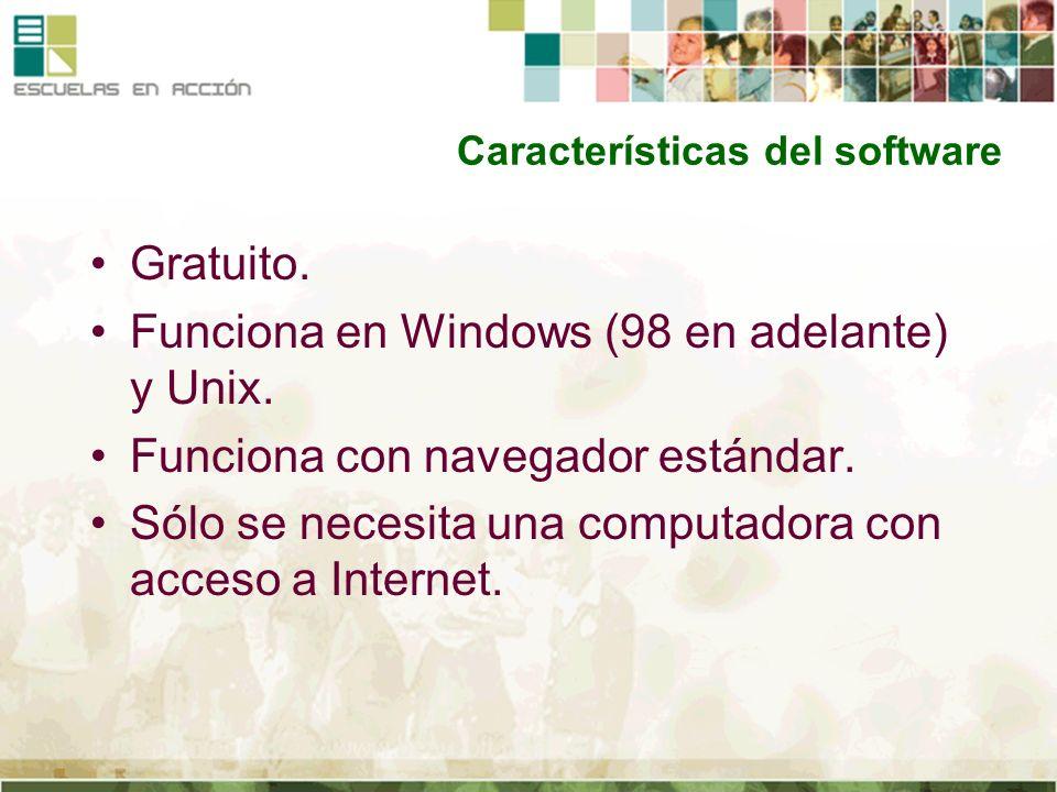 Características del software Gratuito. Funciona en Windows (98 en adelante) y Unix. Funciona con navegador estándar. Sólo se necesita una computadora