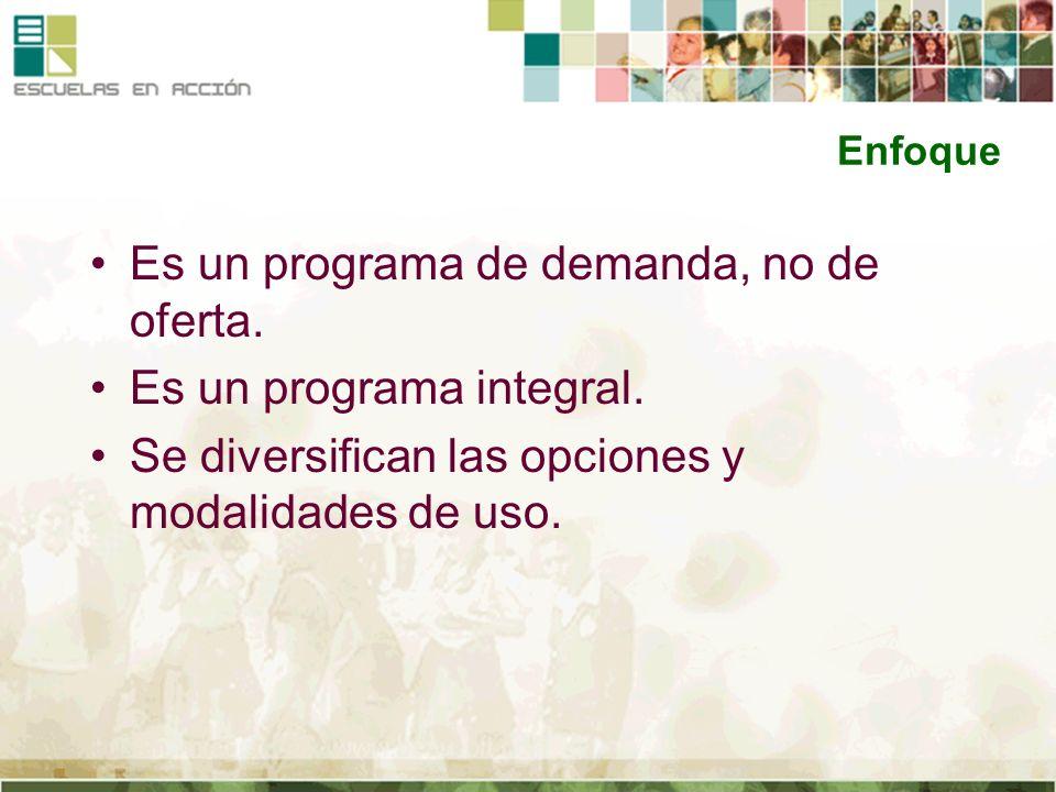 Enfoque Es un programa de demanda, no de oferta. Es un programa integral. Se diversifican las opciones y modalidades de uso.