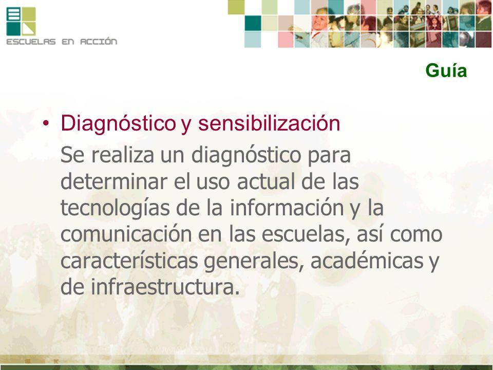 Guía Diagnóstico y sensibilización Se realiza un diagnóstico para determinar el uso actual de las tecnologías de la información y la comunicación en l