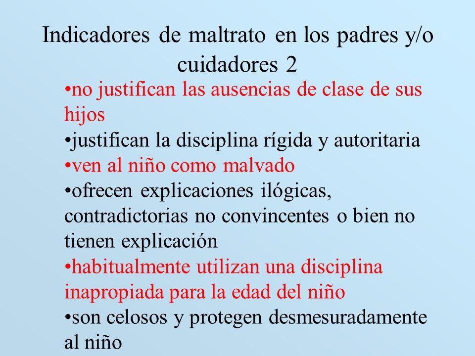 Indicadores de maltrato en los padres y/o cuidadores 2 no justifican las ausencias de clase de sus hijos justifican la disciplina rígida y autoritaria