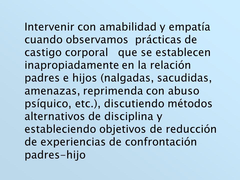 Intervenir con amabilidad y empatía cuando observamos prácticas de castigo corporal que se establecen inapropiadamente en la relación padres e hijos (