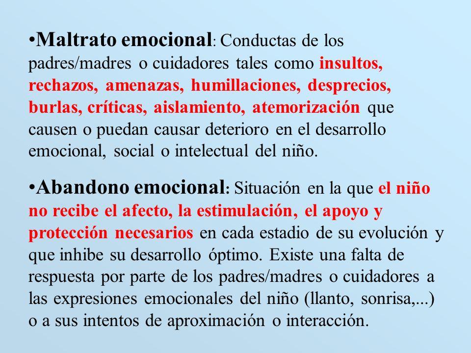 Maltrato emocional : Conductas de los padres/madres o cuidadores tales como insultos, rechazos, amenazas, humillaciones, desprecios, burlas, críticas,
