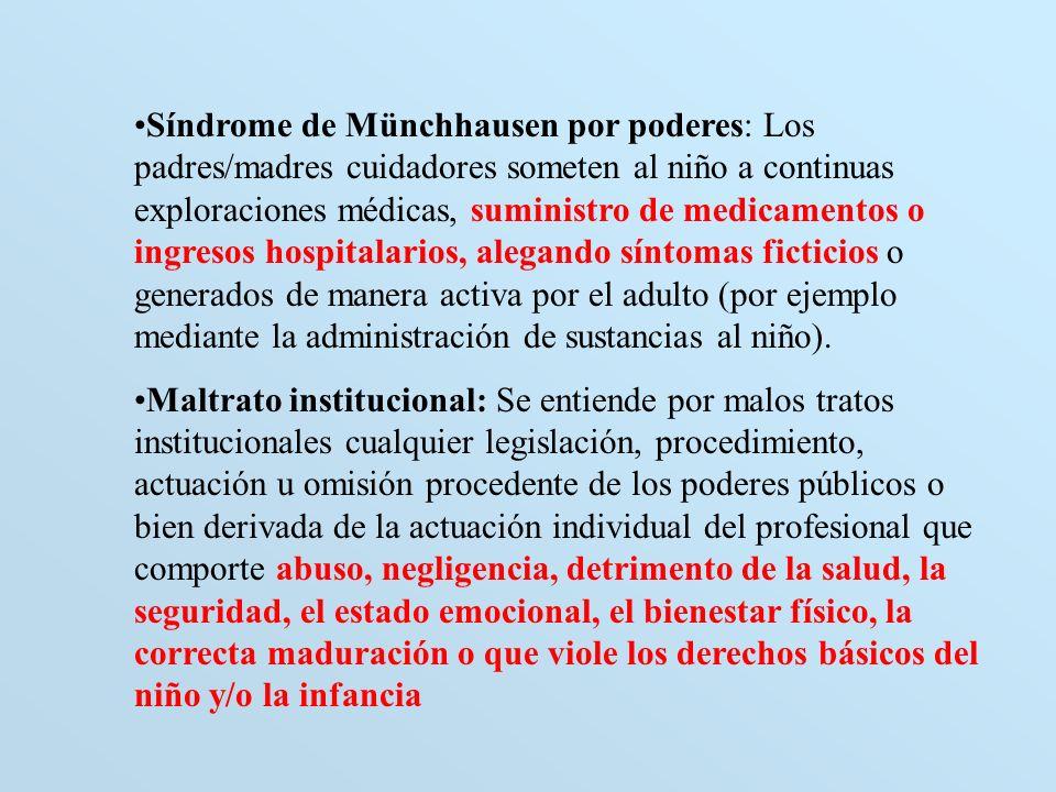Síndrome de Münchhausen por poderes: Los padres/madres cuidadores someten al niño a continuas exploraciones médicas, suministro de medicamentos o ingr