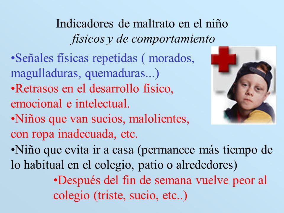 Indicadores de maltrato en el niño físicos y de comportamiento Señales físicas repetidas ( morados, magulladuras, quemaduras...) Retrasos en el desarr