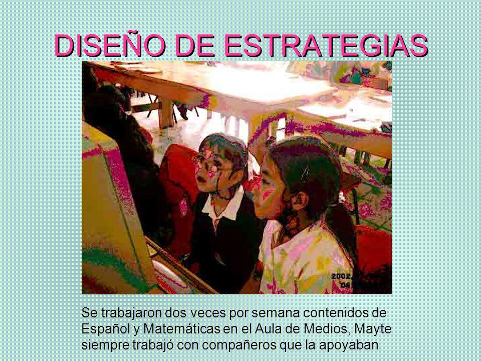 DISEÑO DE ESTRATEGIAS Se trabajaron dos veces por semana contenidos de Español y Matemáticas en el Aula de Medios, Mayte siempre trabajó con compañero