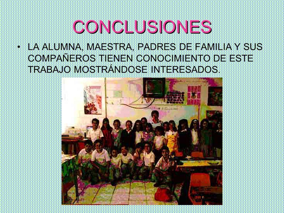 CONCLUSIONES LA ALUMNA, MAESTRA, PADRES DE FAMILIA Y SUS COMPAÑEROS TIENEN CONOCIMIENTO DE ESTE TRABAJO MOSTRÁNDOSE INTERESADOS.