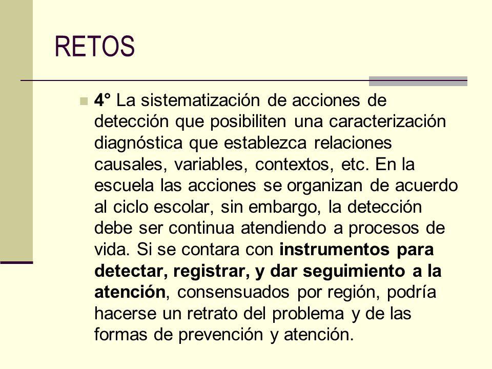 RETOS 4° La sistematización de acciones de detección que posibiliten una caracterización diagnóstica que establezca relaciones causales, variables, co