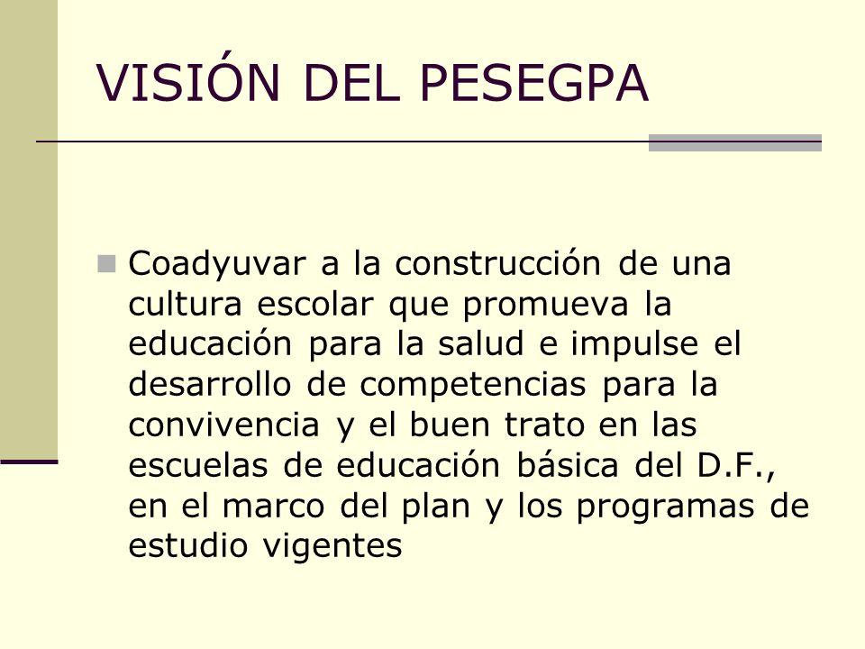 VISIÓN DEL PESEGPA Coadyuvar a la construcción de una cultura escolar que promueva la educación para la salud e impulse el desarrollo de competencias