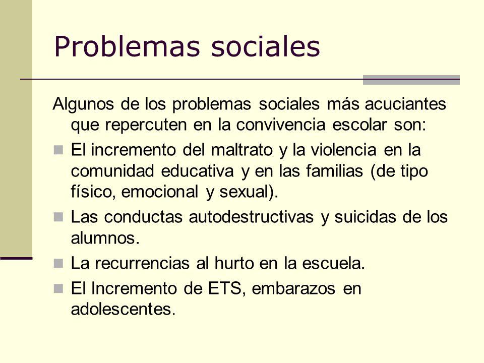 Problemas sociales Algunos de los problemas sociales más acuciantes que repercuten en la convivencia escolar son: El incremento del maltrato y la viol