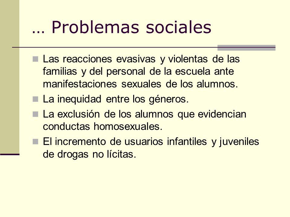 … Problemas sociales Las reacciones evasivas y violentas de las familias y del personal de la escuela ante manifestaciones sexuales de los alumnos. La