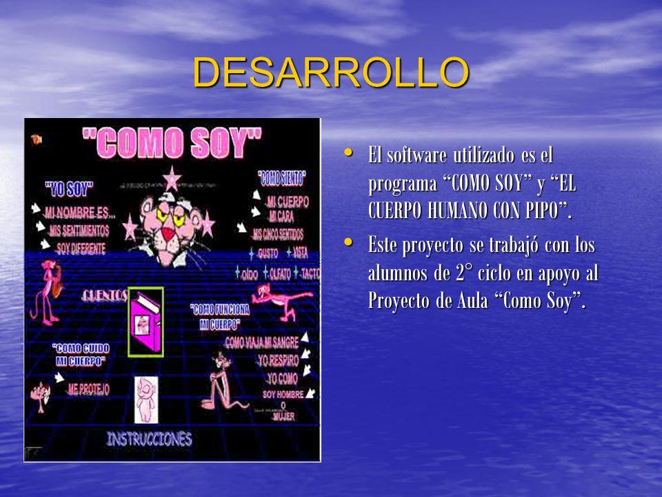 DESARROLLO El software utilizado es el programa COMO SOY y EL CUERPO HUMANO CON PIPO. Este proyecto se trabajó con los alumnos de 2° ciclo en apoyo al