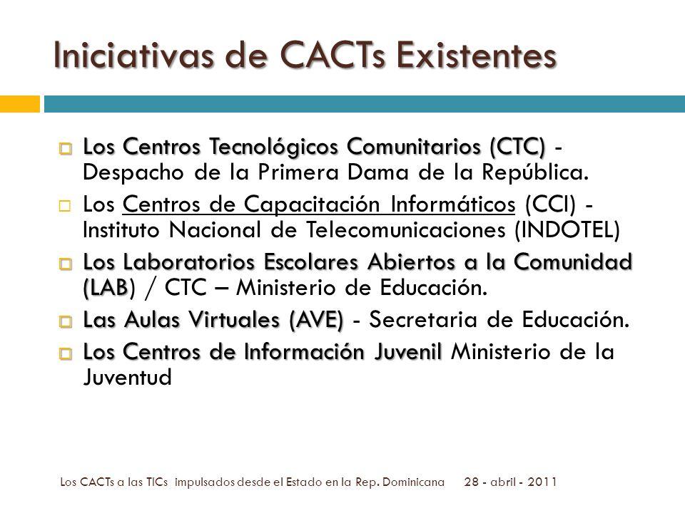 Iniciativas de CACTs Existentes Los Centros Tecnológicos Comunitarios (CTC) Los Centros Tecnológicos Comunitarios (CTC) - Despacho de la Primera Dama de la República.
