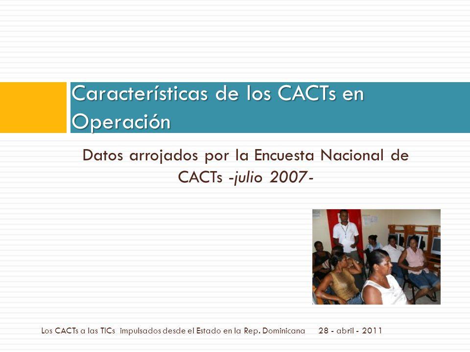 Datos arrojados por la Encuesta Nacional de CACTs -julio 2007- Características de los CACTs en Operación Los CACTs a las TICs impulsados desde el Estado en la Rep.