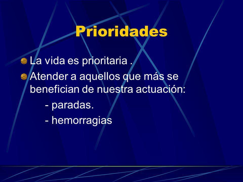 Prioridades La vida es prioritaria. Atender a aquellos que más se benefician de nuestra actuación: - paradas. - hemorragias