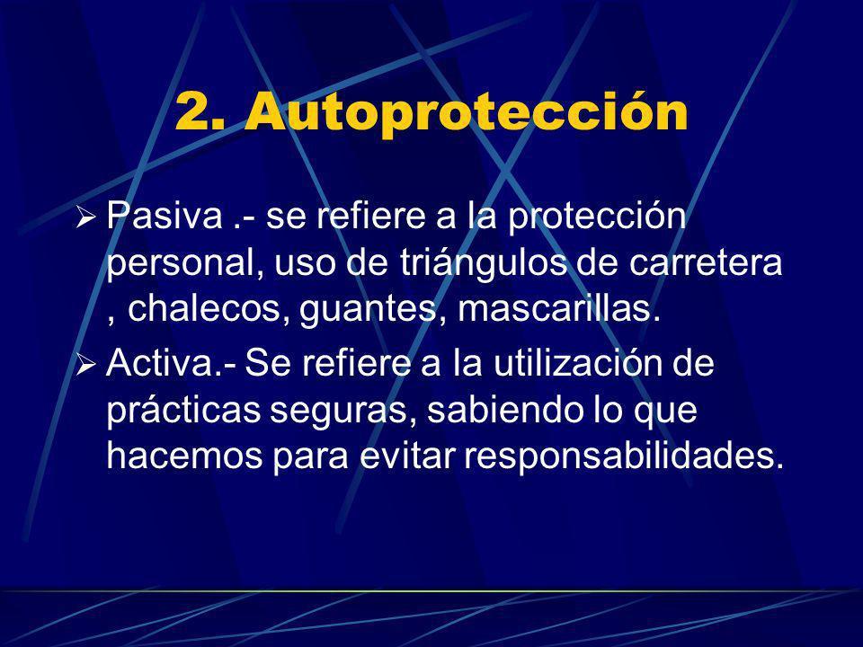 2. Autoprotección Pasiva.- se refiere a la protección personal, uso de triángulos de carretera, chalecos, guantes, mascarillas. Activa.- Se refiere a