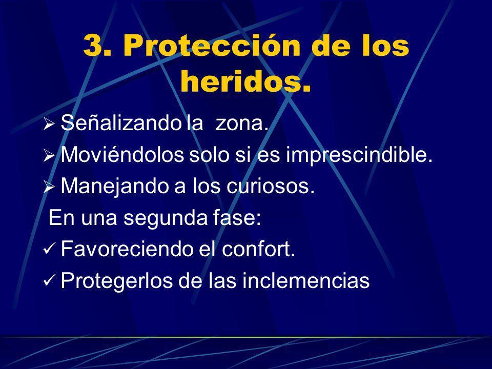 3. Protección de los heridos. Señalizando la zona. Moviéndolos solo si es imprescindible. Manejando a los curiosos. En una segunda fase: Favoreciendo