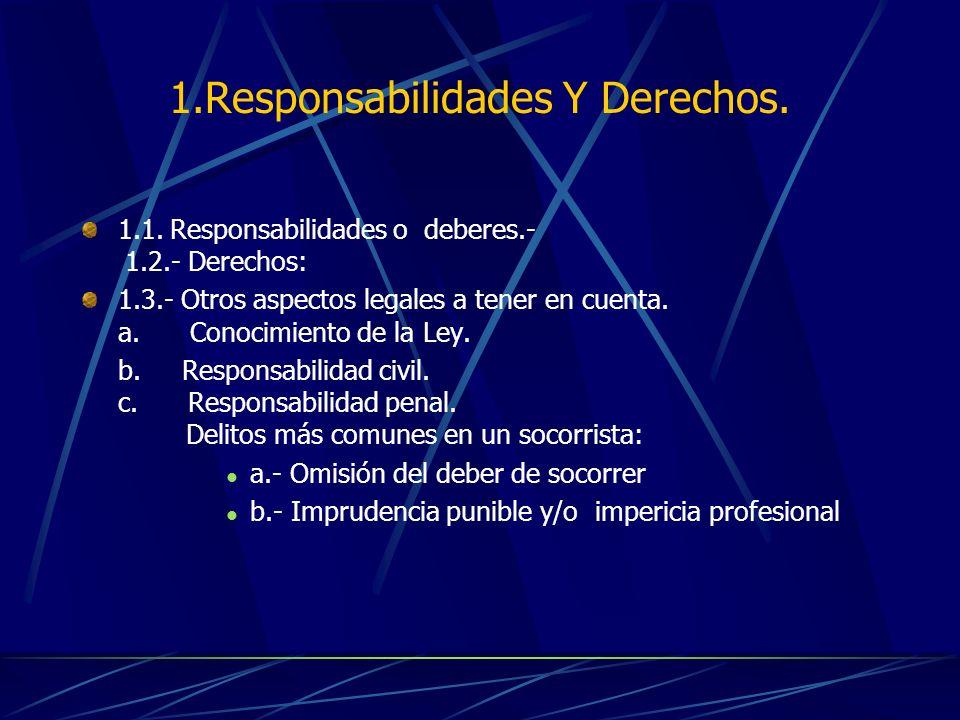 1.Responsabilidades Y Derechos. 1.1. Responsabilidades o deberes.- 1.2.- Derechos: 1.3.- Otros aspectos legales a tener en cuenta. a. Conocimiento de