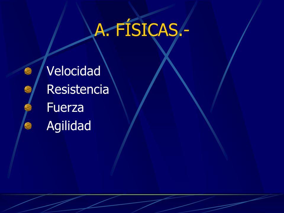A. FÍSICAS.- Velocidad Resistencia Fuerza Agilidad