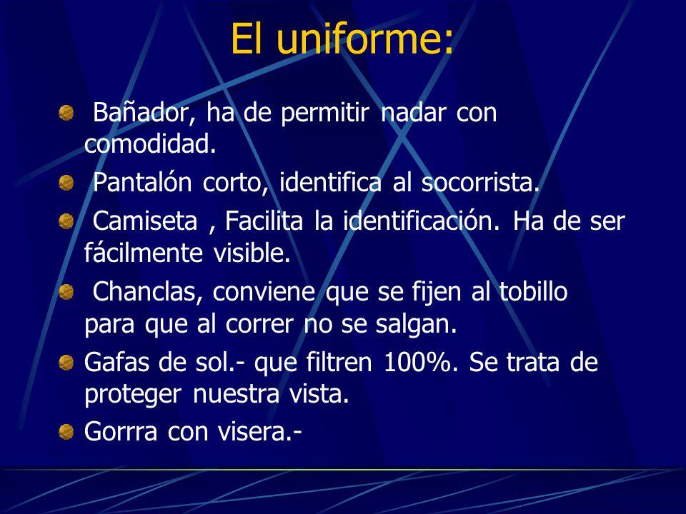 El uniforme: Bañador, ha de permitir nadar con comodidad. Pantalón corto, identifica al socorrista. Camiseta, Facilita la identificación. Ha de ser fá