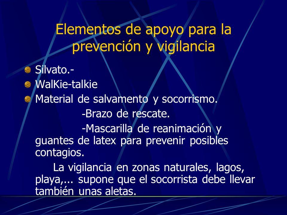 Elementos de apoyo para la prevención y vigilancia Silvato.- WalKie-talkie Material de salvamento y socorrismo. - Brazo de rescate. -Mascarilla de rea