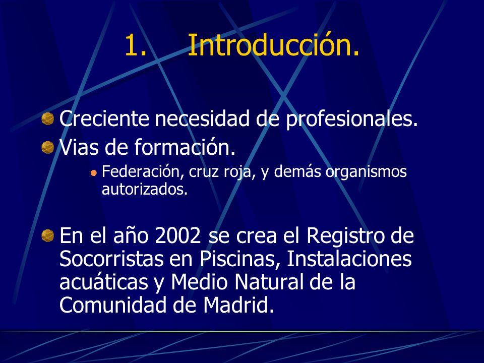 1. Introducción. Creciente necesidad de profesionales. Vias de formación. Federación, cruz roja, y demás organismos autorizados. En el año 2002 se cre