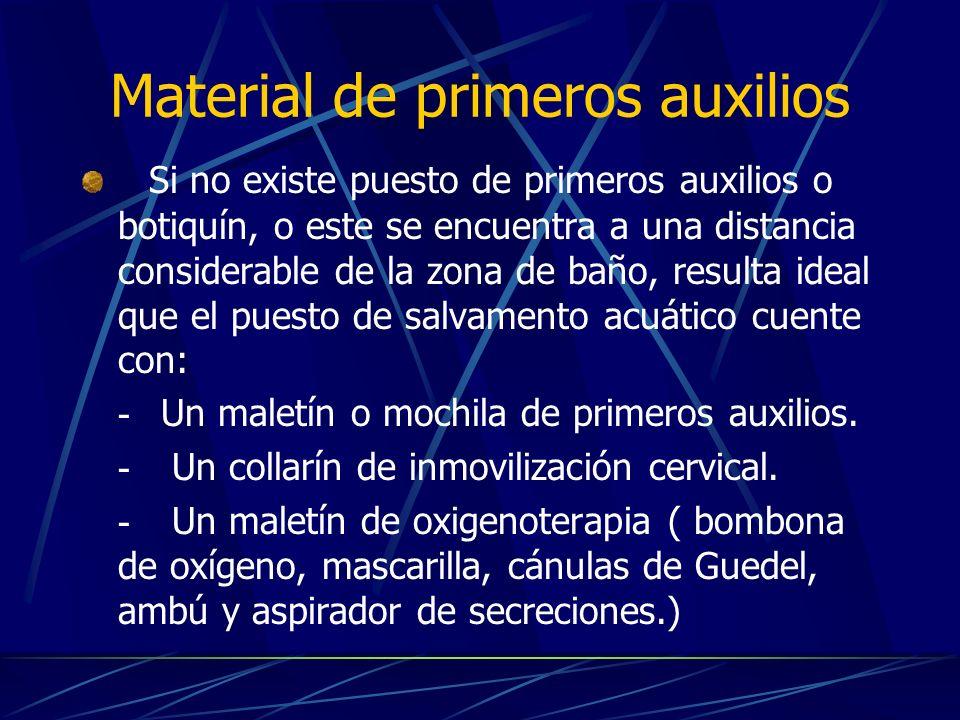 Material de primeros auxilios Si no existe puesto de primeros auxilios o botiquín, o este se encuentra a una distancia considerable de la zona de baño