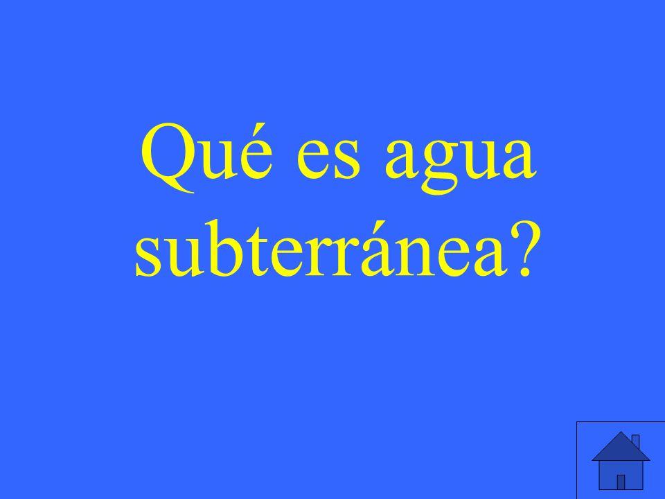 Qué es agua subterránea?