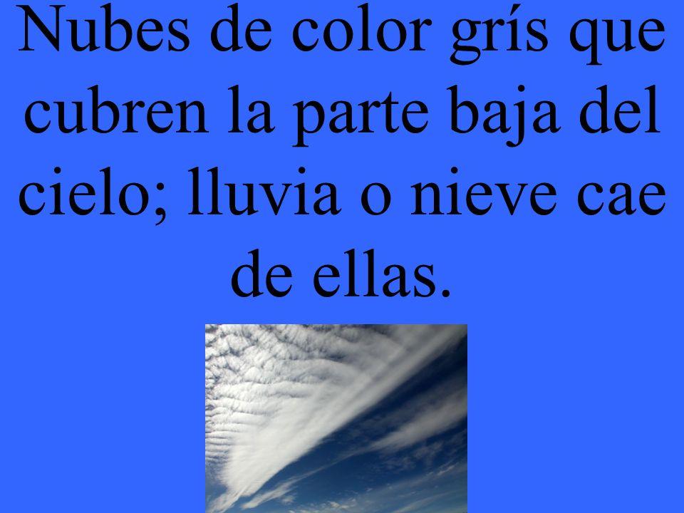 Nubes de color grís que cubren la parte baja del cielo; lluvia o nieve cae de ellas.