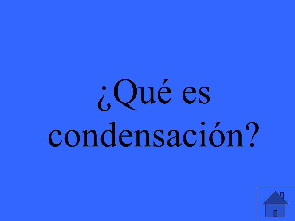 ¿Qué es condensación?