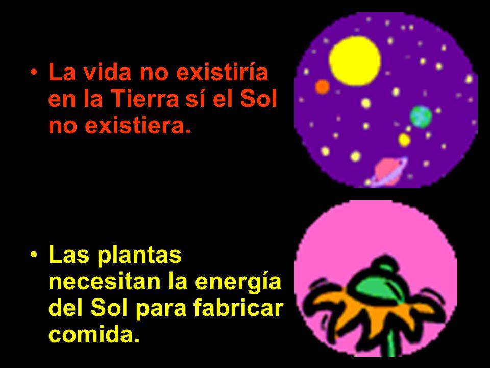 La vida no existiría en la Tierra sí el Sol no existiera. Las plantas necesitan la energía del Sol para fabricar comida.