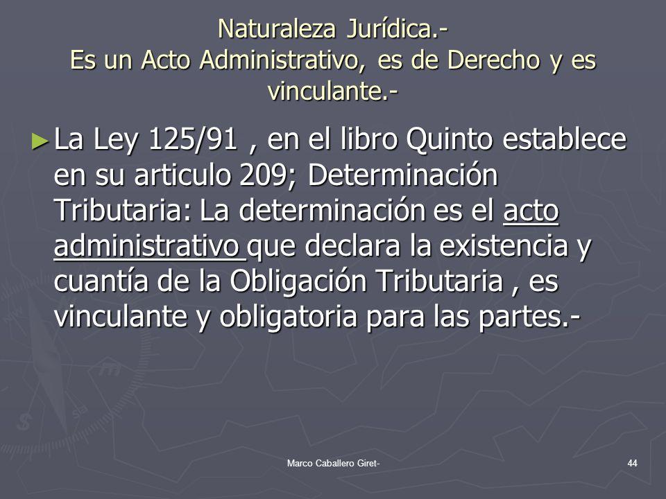 Naturaleza Jurídica.- Es un Acto Administrativo, es de Derecho y es vinculante.- La Ley 125/91, en el libro Quinto establece en su articulo 209; Deter