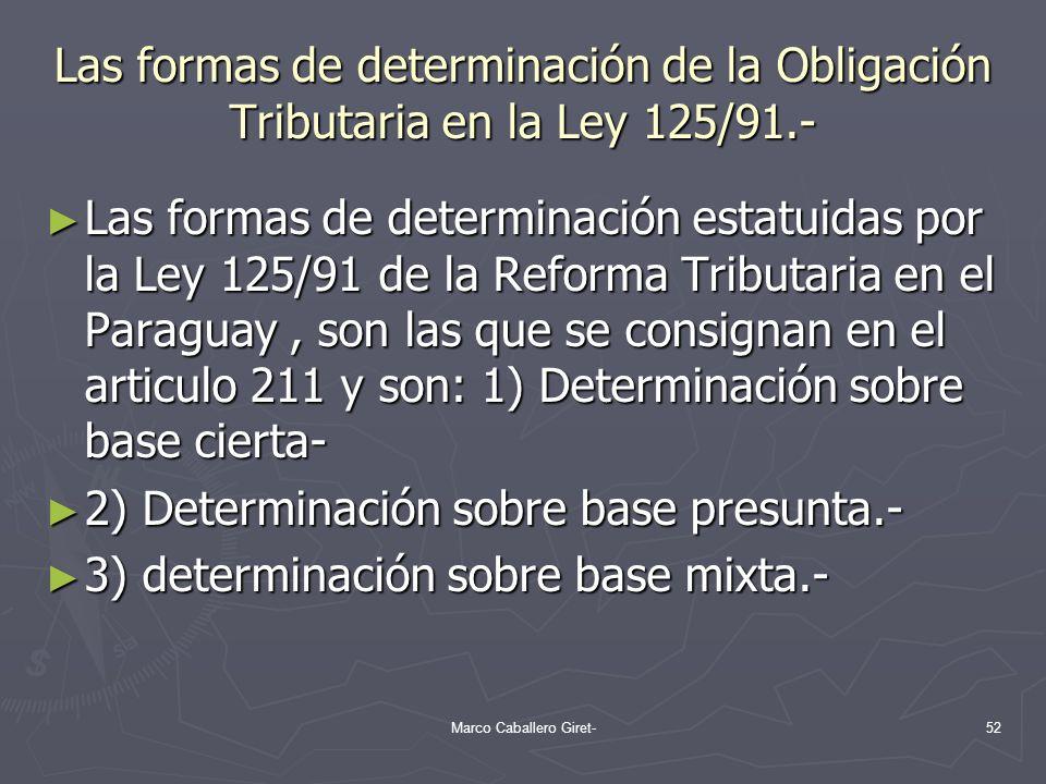 Las formas de determinación de la Obligación Tributaria en la Ley 125/91.- Las formas de determinación estatuidas por la Ley 125/91 de la Reforma Trib