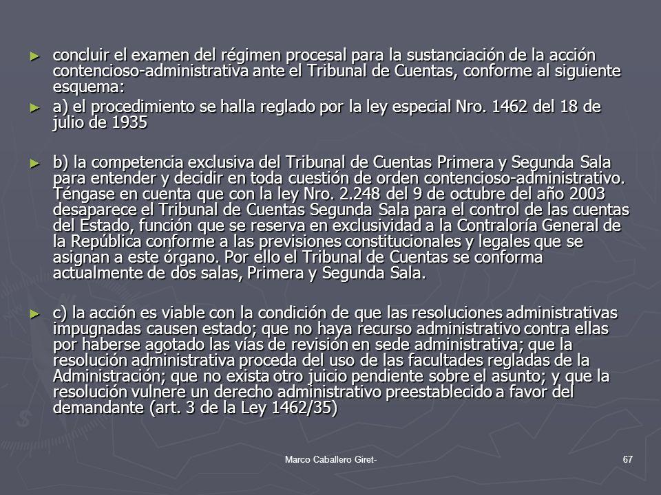 concluir el examen del régimen procesal para la sustanciación de la acción contencioso-administrativa ante el Tribunal de Cuentas, conforme al siguien