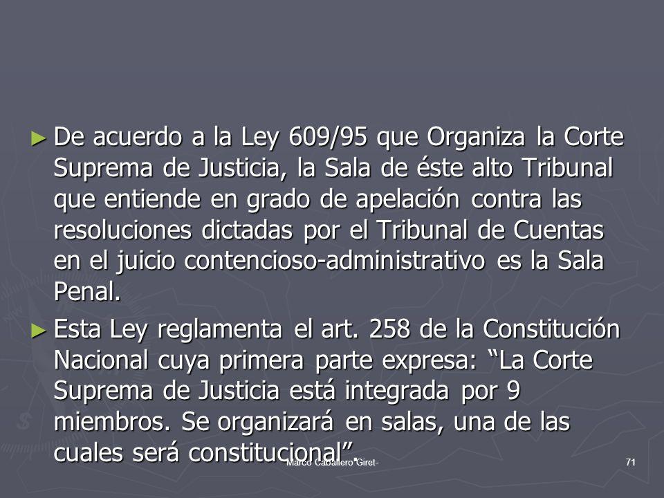 De acuerdo a la Ley 609/95 que Organiza la Corte Suprema de Justicia, la Sala de éste alto Tribunal que entiende en grado de apelación contra las reso