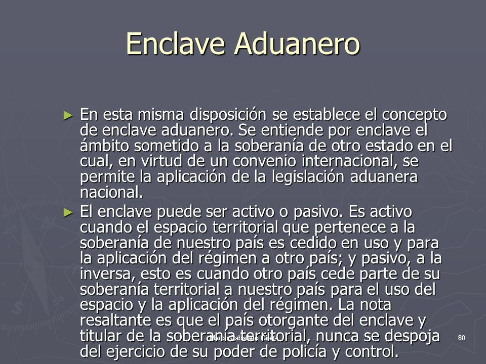Enclave Aduanero En esta misma disposición se establece el concepto de enclave aduanero. Se entiende por enclave el ámbito sometido a la soberanía de