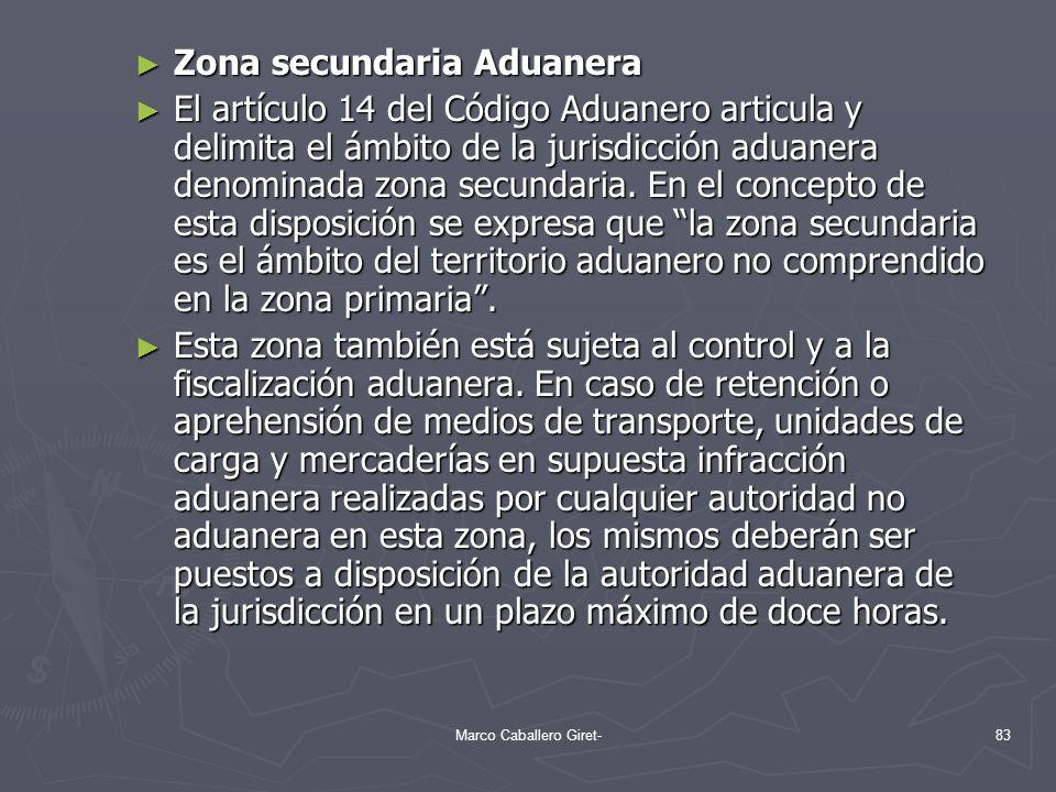 Zona secundaria Aduanera Zona secundaria Aduanera El artículo 14 del Código Aduanero articula y delimita el ámbito de la jurisdicción aduanera denomin