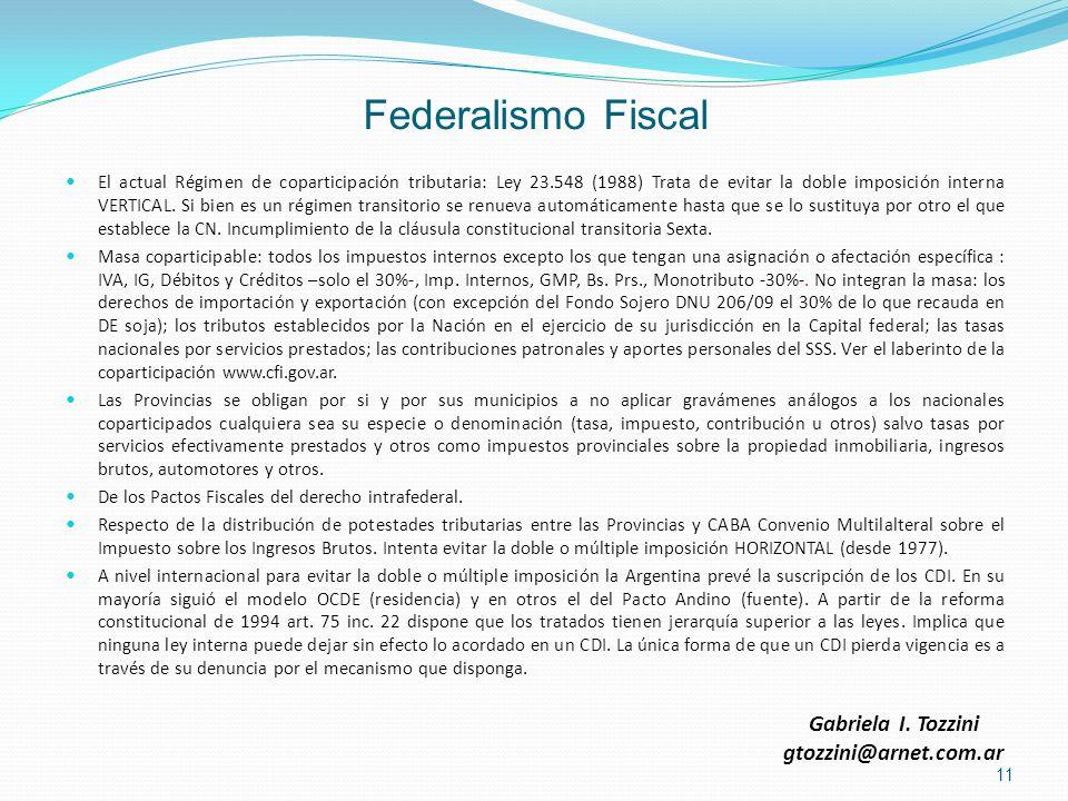 Federalismo Fiscal El actual Régimen de coparticipación tributaria: Ley 23.548 (1988) Trata de evitar la doble imposición interna VERTICAL. Si bien es