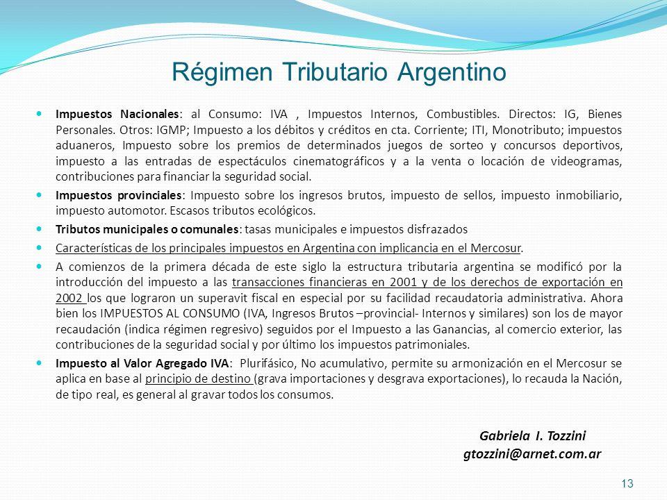 Régimen Tributario Argentino Impuestos Nacionales: al Consumo: IVA, Impuestos Internos, Combustibles. Directos: IG, Bienes Personales. Otros: IGMP; Im